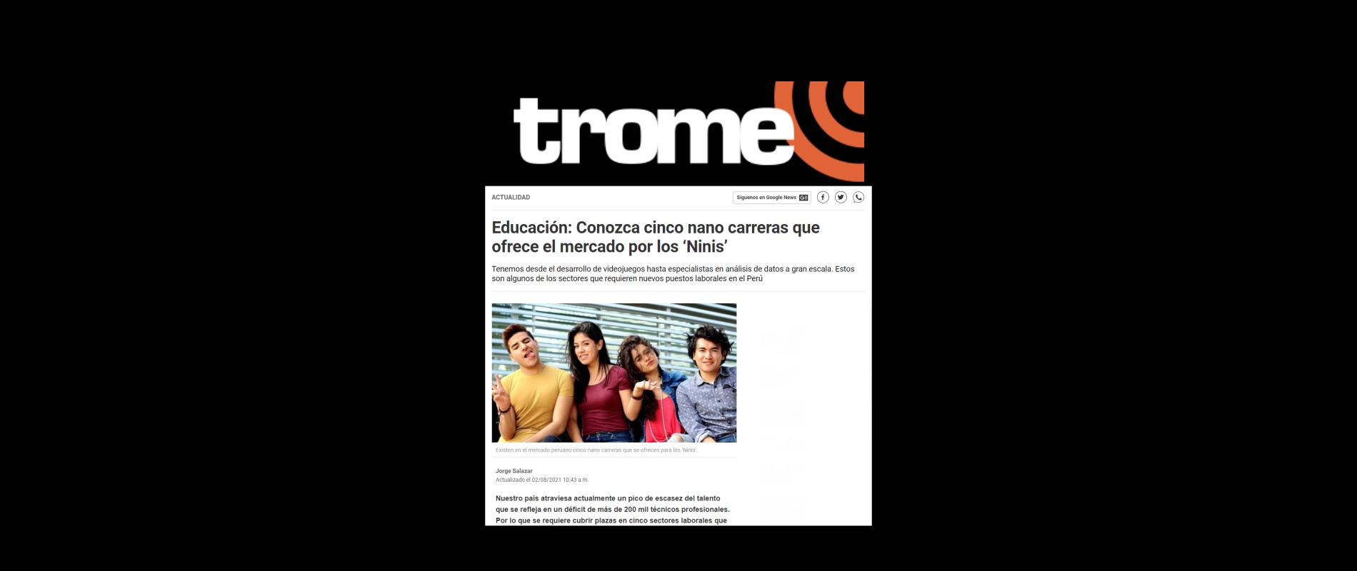 Educación: Conozca cinco nano carreras que ofrece el mercado por los 'Ninis' - Diario TROME